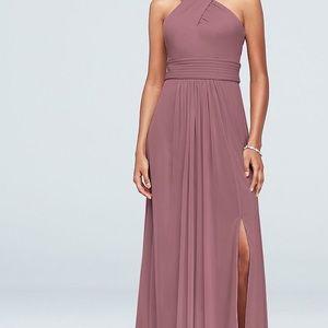 Size 12 crosscross highneck mesh bridesmaid dress
